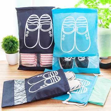 深淺藍色大頭鞋圖案加厚衣物鞋子收納袋(大號)『不挑款』
