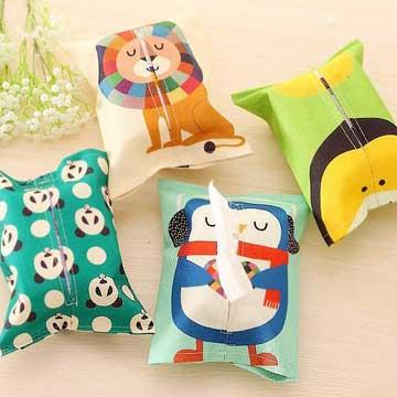動物派對帆布棉麻紙巾套/面紙套/面紙盒『不挑款』