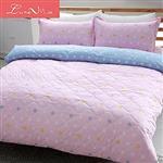 【 Luna Vita 】雙人 蜜絲絨超柔軟全舖棉床包兩用套四件組- 羽夢點點(粉)