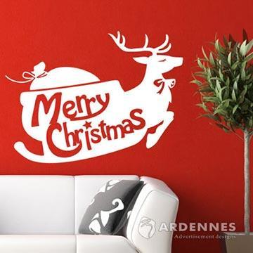 Christine聖誕節慶佈置/牆貼/玻璃貼/MA021浪漫雪橇