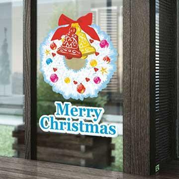 Christine聖誕節慶佈置/壁貼 玻璃貼/MB025 聖誕花環(小)
