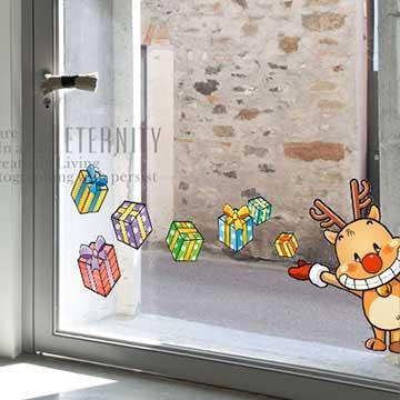 Christine耶誕節慶佈置/壁貼 玻璃貼/MB017 馴鹿禮盒(小)