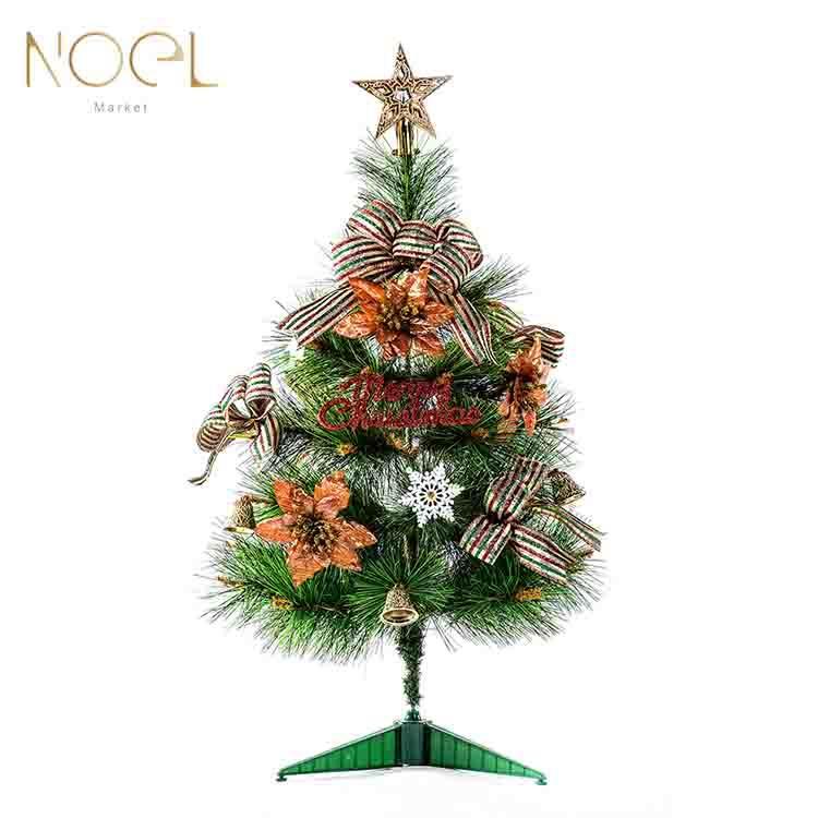【NOEL諾也家飾】1.5尺桌上型松針聖誕樹 (金,銀,紅) 飾品包 紅色系裝飾品