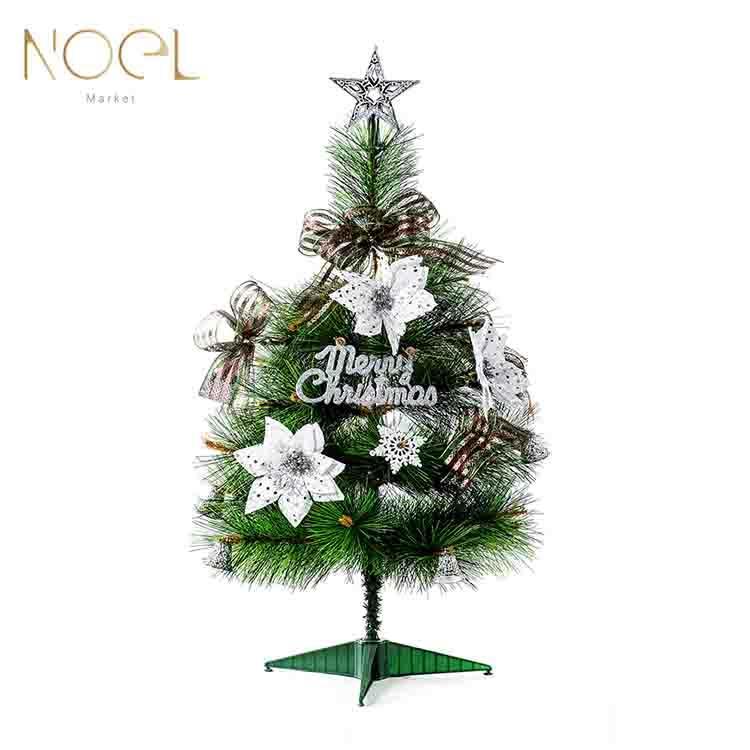 【NOEL諾也家飾】1.5尺桌上型松針聖誕樹 (金,銀,紅) 飾品包 銀色系裝飾品