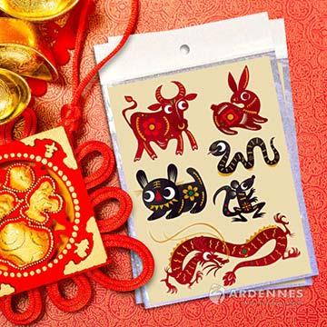 Christine新年節慶佈置 / 招財開運貼 貼紙 玻璃貼 牆貼 小物 / NE003 寶貝生肖
