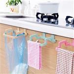 第二代機能型廚房雙耳式門背垃圾袋掛架/收納架/毛巾架(隨機出貨)
