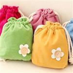 韓國鈕扣小花雙層加厚束口袋/化妝包/收納袋(顏色款式隨機出貨)