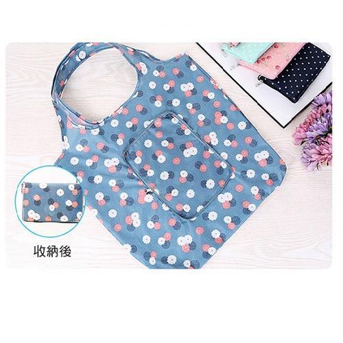 wanban防潑水折疊購物袋(天藍花朵)