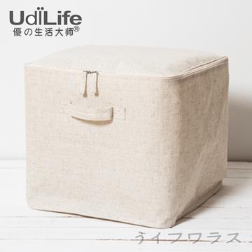 【UdiLife】森/棉麻附蓋收納箱-2入組