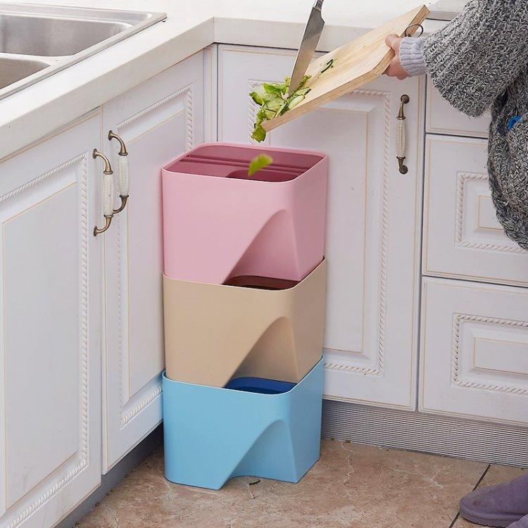創意玩色自由搭配,收納日式可疊加分類圾垃桶1入