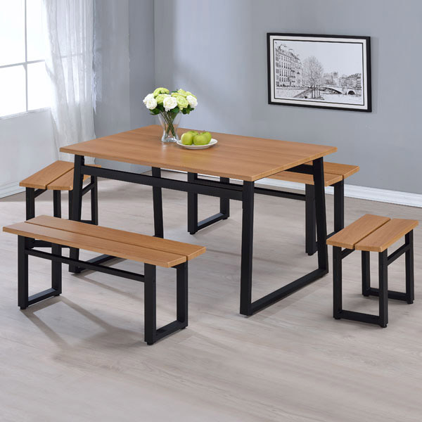 Yostyle 伊瑪娜工業風餐桌椅組(一桌四椅)