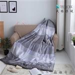【Luna Vita】春夏100%頂級 緞紋天絲TENCEL 鋪棉涼被-麻趣布洛(灰)