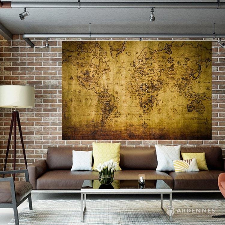 【ARDENNES】壁紙 壁布 中世紀仿古地圖 法國進口 / 居家佈置 DIY / MAP001