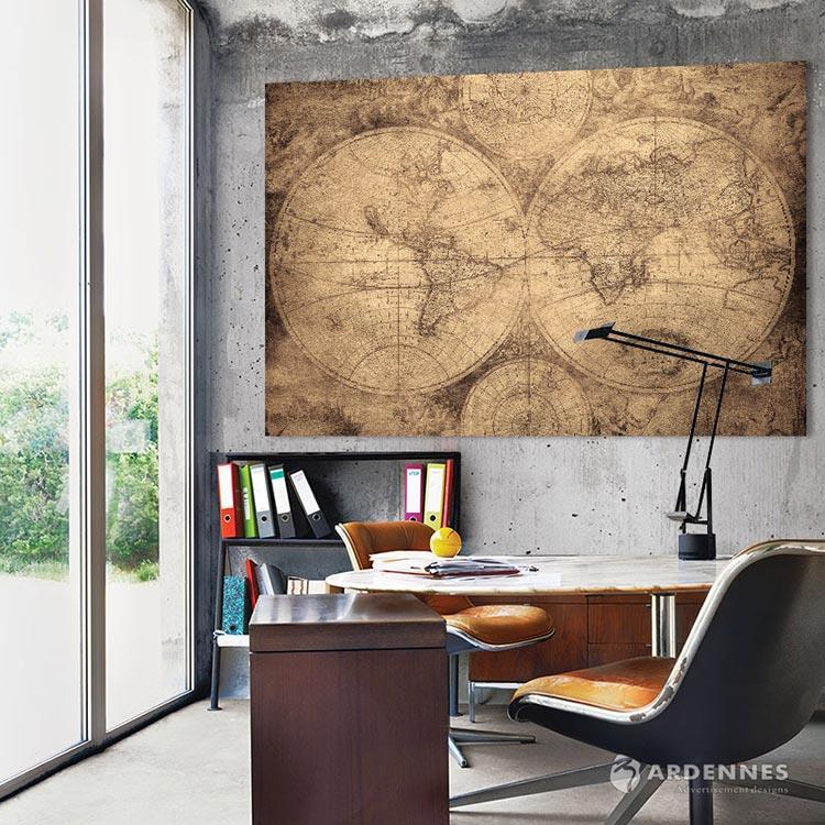 【ARDENNES】壁紙 壁布 中世紀仿古地圖 法國進口 / 居家佈置 DIY / MAP006