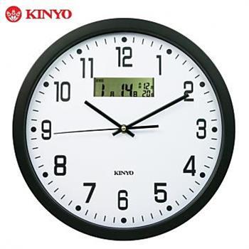 KINYO 極簡俐落-14吋 LCD雙顯示掛鐘