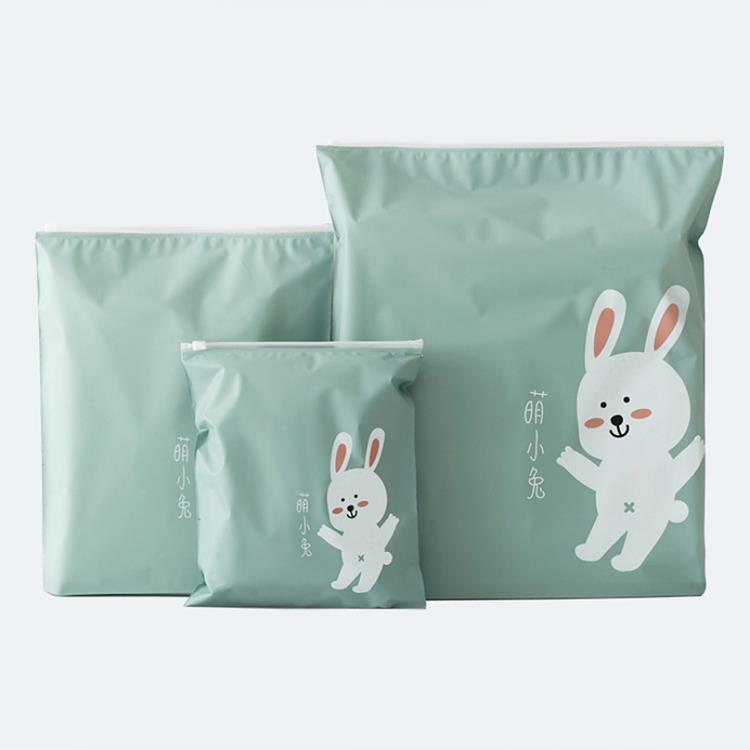 旅行收納防水夾鏈袋3件組-萌小兔