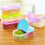 糖果色雙格翻蓋食物保鮮長型收納盒(顏色款式隨機出貨)