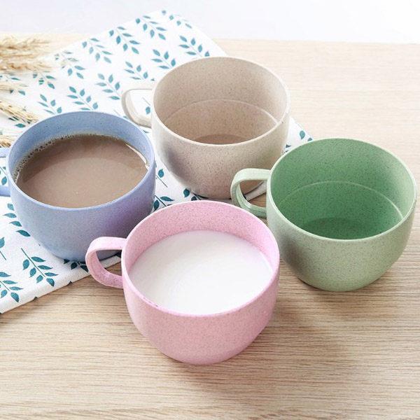 環保小麥粒簡約辦公室單耳咖啡杯(顏色款式隨機出貨)