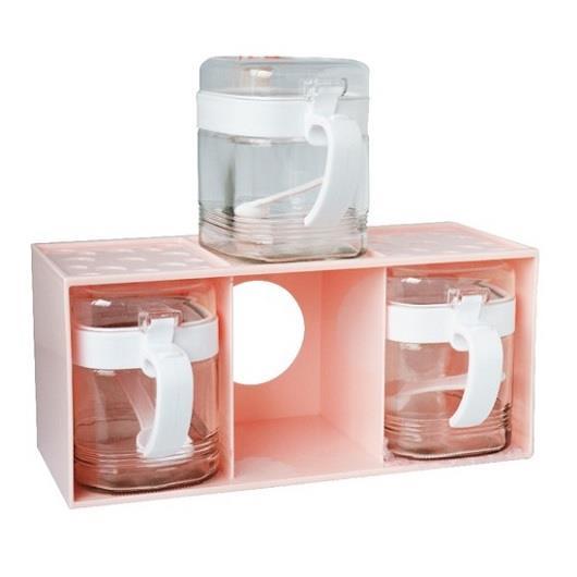 【200℃】比特方形調味罐組 400ml**3入 (盒式收納)