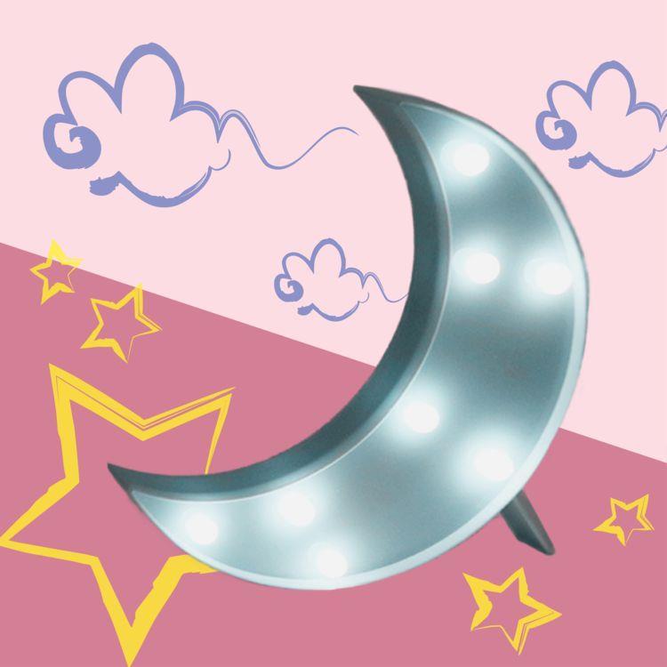 大力女造型LED小夜燈-藍月亮