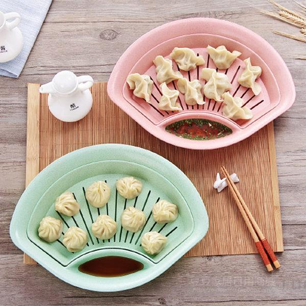 環保小麥粒扇型水餃食物沾醬雙層盤(綠色)