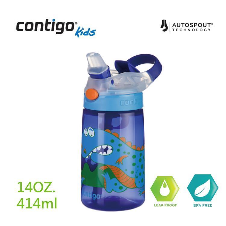【美國CONTIGO】Gizmo兒童水壺吸管瓶414cc(寶藍恐龍)