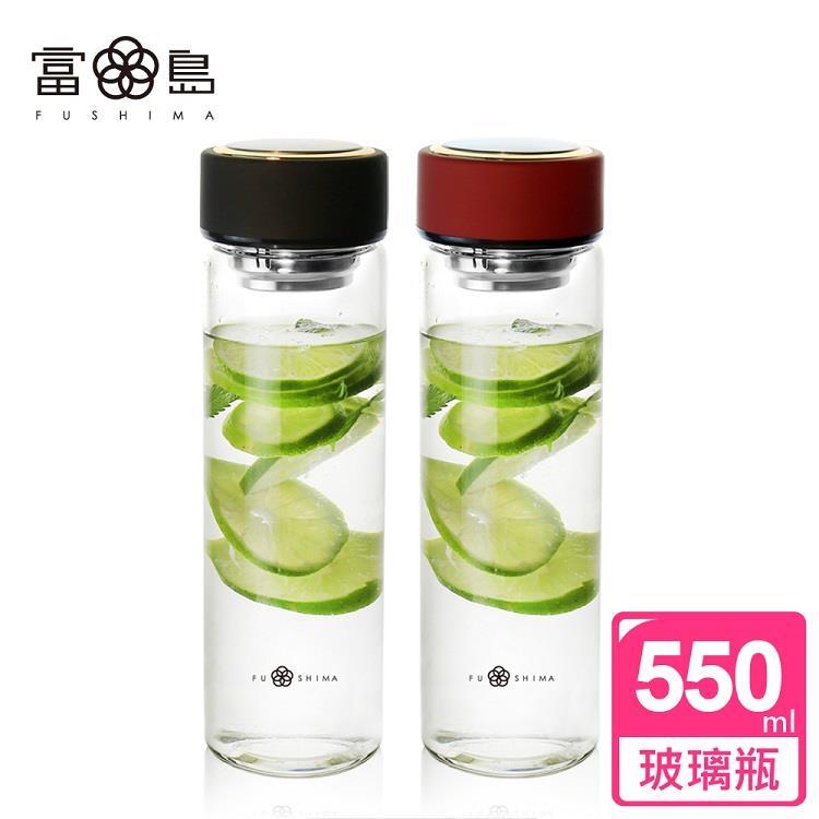 【FUSHIMA富島】禪風雅泡茶耐熱玻璃隨手瓶550ML*2入