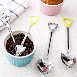 偽裝系小鏟子握柄湯匙叉子不鏽鋼餐具-大湯匙(顏色隨機出貨)