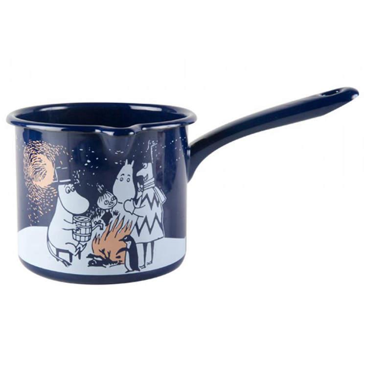 【芬蘭Muurla】嚕嚕米系列-冬季羅曼史琺瑯醬料鍋1.3公升(深藍色)/牛奶鍋