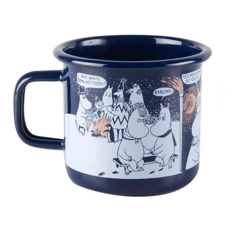 【芬蘭Muurla】嚕嚕米系列-冬季羅曼史琺瑯馬克杯370cc(深藍色)咖啡杯/琺瑯杯