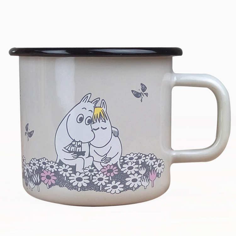 【芬蘭Muurla】嚕嚕米系列-永遠在一起琺瑯馬克杯370cc(珍珠白)咖啡杯/琺瑯杯