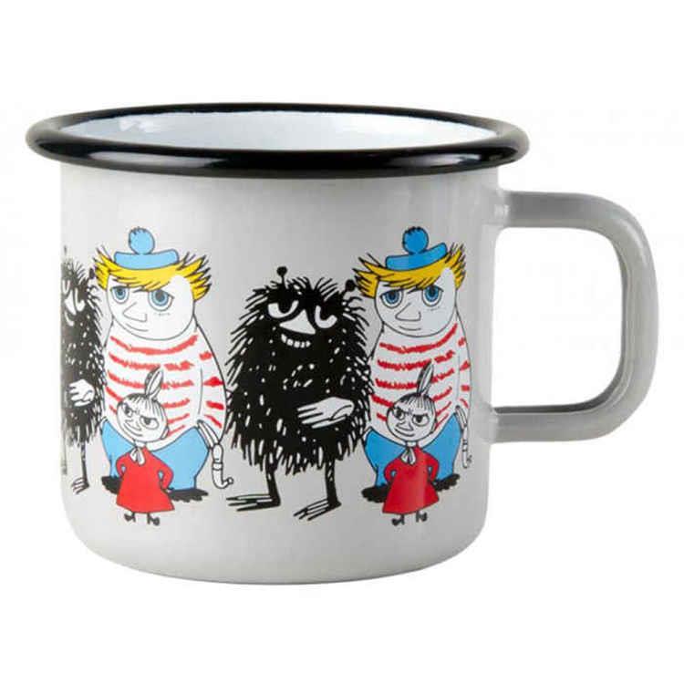 【芬蘭Muurla】嚕嚕米朋友系列-好朋友370cc(灰色)咖啡杯/琺瑯杯