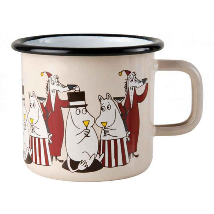 【芬蘭Muurla】嚕嚕米朋友系列-好朋友370cc(粉紅色)咖啡杯/琺瑯杯