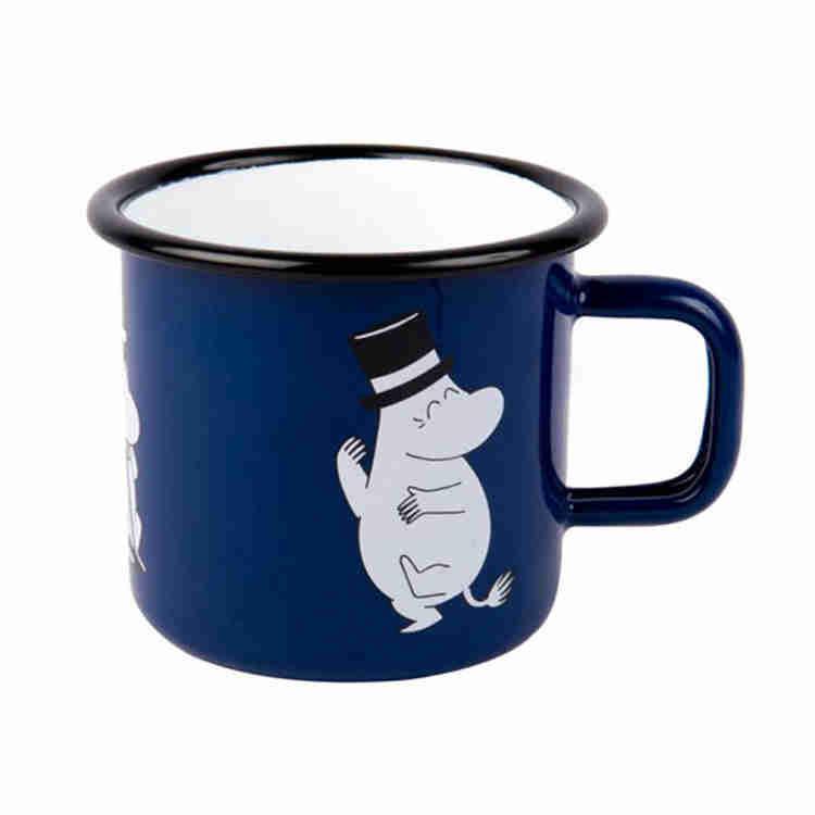 【芬蘭Muurla】嚕嚕米系列-嚕嚕爸爸琺瑯馬克杯370cc(深藍色)咖啡杯/琺瑯杯
