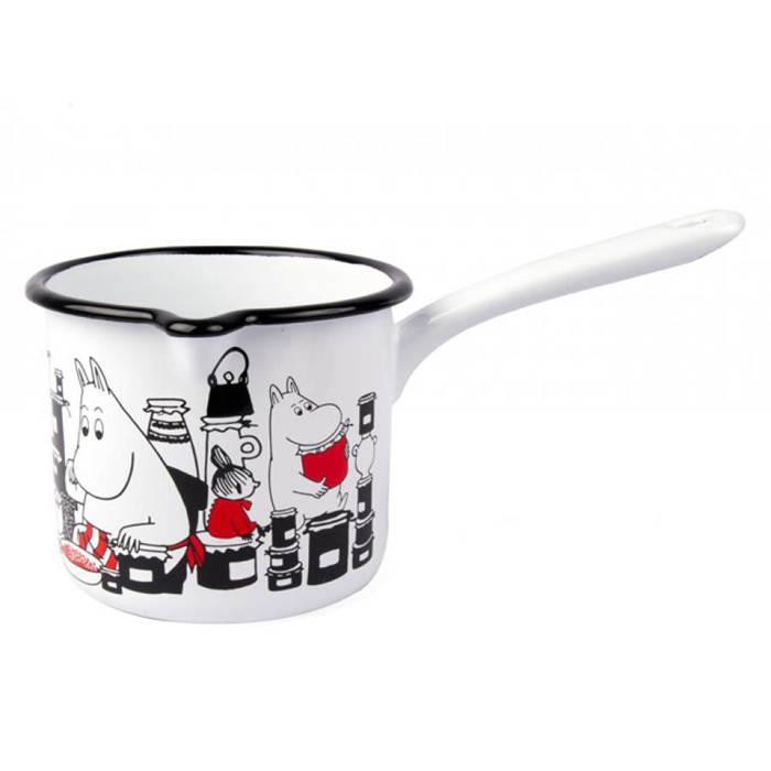 【芬蘭Muurla】嚕嚕米琺瑯醬料鍋/牛奶鍋1公升(白色)