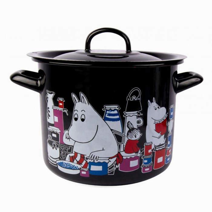 【芬蘭Muurla】嚕嚕米琺瑯燉鍋含蓋3.5公升(黑色)