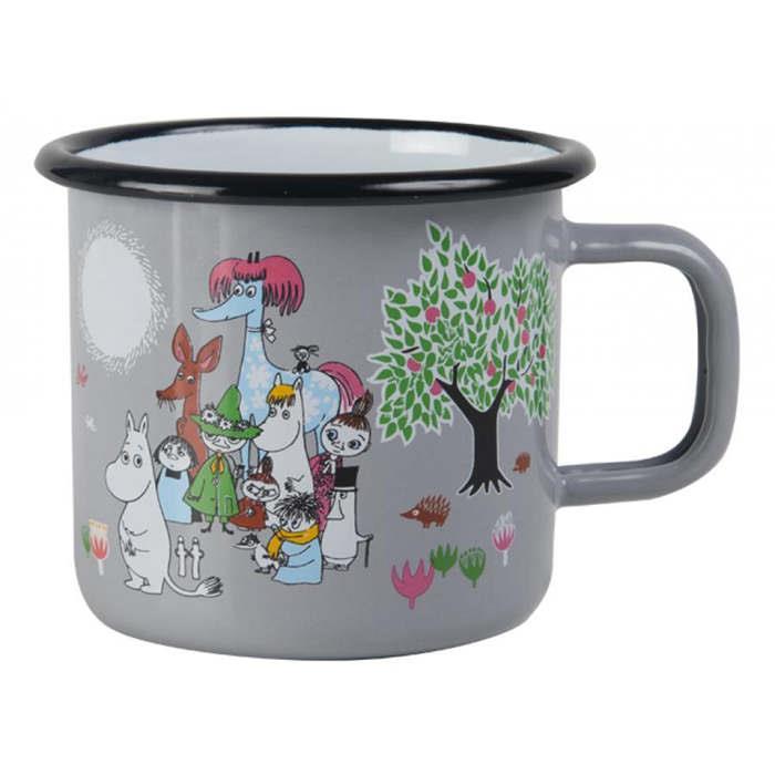 【芬蘭Muurla】嚕嚕米系列-花園琺瑯馬克杯370cc(灰色)咖啡杯/琺瑯杯