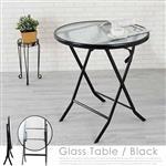 Yostyle 莉斯玻璃休閒折合桌(奢華黑)