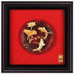 鹿港窯-立體金箔畫-連年有餘(圓盤系列23x23cm)
