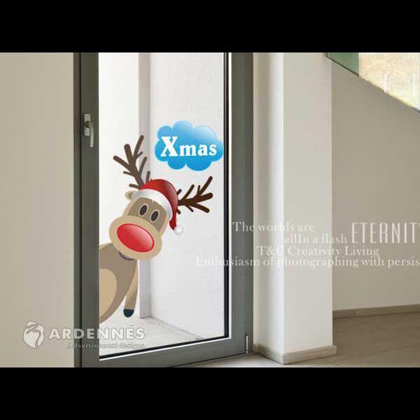 Christine聖誕節慶佈置/壁貼 玻璃貼/MB012 探頭馴鹿(小)