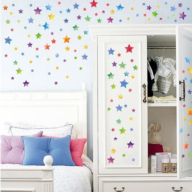 時尚壁貼 - 彩色星星二入