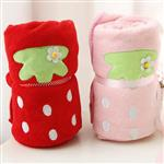 大顆草莓收納捲毯/小毛毯/懶人毯(款式隨機出貨)