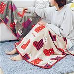 條紋點點襪子躲貓貓午睡毯/小毛毯/懶人毯/披肩/蓋毯/寵物毯(米)