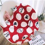 白點點泡泡大頭鬥牛犬午睡毯/小毛毯/懶人毯/披肩/蓋毯/寵物毯(紅)