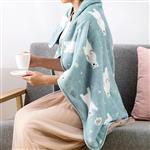 繽紛雪花北極熊午睡毯/小毛毯/懶人毯/披肩/蓋毯/寵物毯(粉色)
