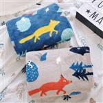 森林咆嘯狼與羊午睡毯/小毛毯/懶人毯/披肩/蓋毯/寵物毯(灰色)