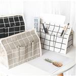 普普格子風防水棉麻遙控器收納紙巾盒/面紙抽/面紙套(白)