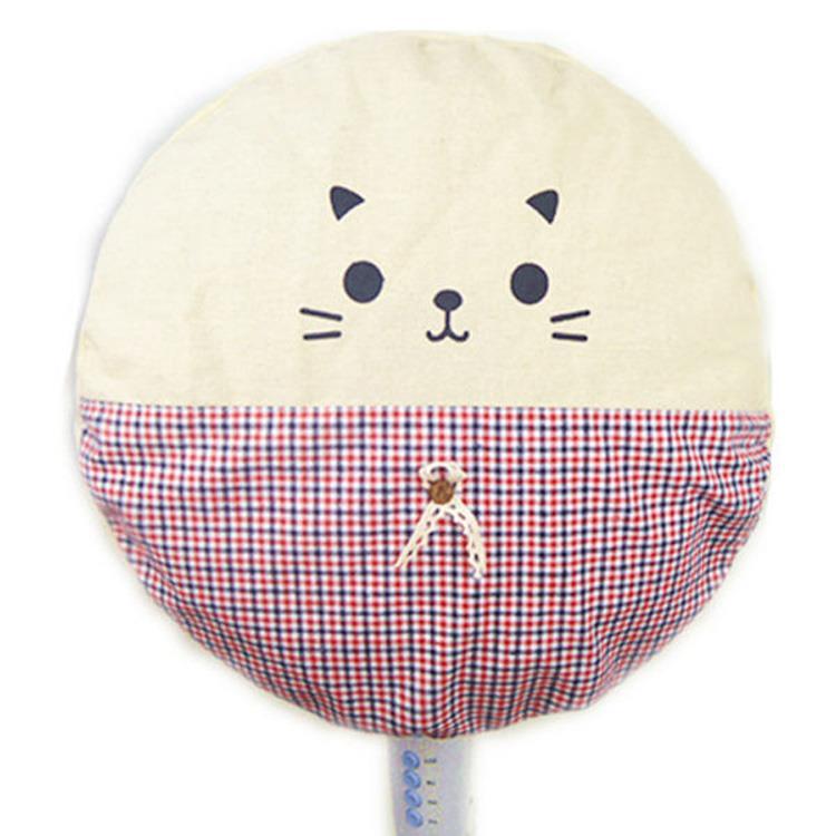 兩撇鬍鬚貓圓形電風扇不織布防塵套/收納袋(款式隨機出貨)