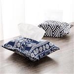 日式和風布藝藍色圖騰棉麻面紙袋/紙巾盒/面紙抽/面紙套(款式隨機出貨)