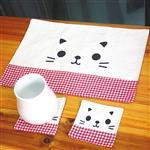 Zakka兩撇鬍鬚貓棉麻格子A4大桌墊/餐墊(隨機出貨)